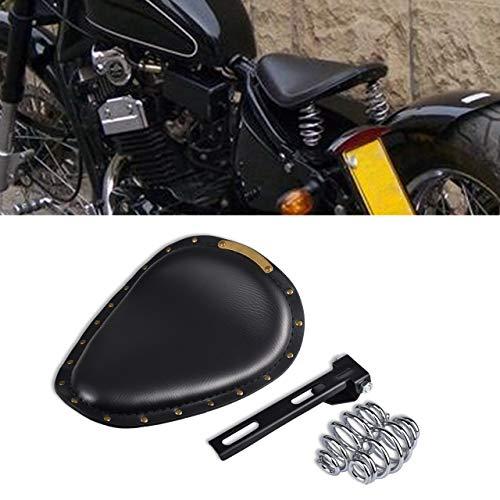 TUINCYN Motorcycle Solo Seat Cushion With Springs Mounting Bracket Set Crocodile Leather Black Seat For Harley/Honda/Yamaha/Kawasaki(pack of 1)