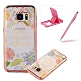Clear Case for Samsung Galaxy S7,Electroplated Frame Soft TPU Cover for Samsung Galaxy S7,Herzzer Pretty Stylish Flower Leaves Design Shock-Absorbing Transparent Rubber Silicone Back Skin Protective Case for Samsung Galaxy S7