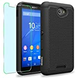 Sony Xperia E4g Case, INNOVAA Smart Grid Defender Armor Case W/ Free Screen Protector & Touch Screen Stylus Pen - Black