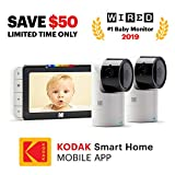 KODAK Cherish C525 Video Baby Monitor + C125 Additional Camera - with Mobile App - 5'' HD Screen - Hi-res Baby Camera with Remote Tilt, Pan and Zoom Two-Way Audio, Night-Vision, Long Range