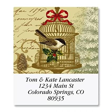 amazon com personalized golden birdcage square christmas address