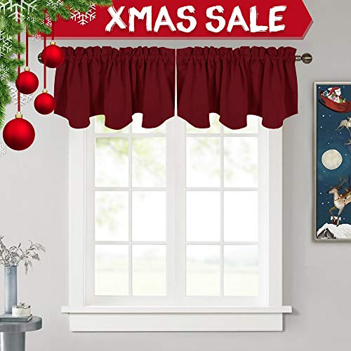 "NICETOWN Kitchen Blackout Window Valances - 52"" x 18"" Scallo"