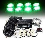 Xprite 160W 8 LED Bulbs Hide-A-Way Emergency Hazard Warning Strobe Lights - Green