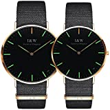 Carnival Couple Tritium Gas Luminous Quartz Ultra Simple Wrist Watches with Canvas Band for Men and Women Set of 2 (Green light-Rose gold)