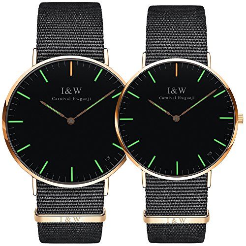 Carnival Couple Tritium Gas Luminous Quartz Ultra Simple Wrist Watches with Canvas Band for Men and Women Set of 2 (Green light-Rose gold) by Carnival