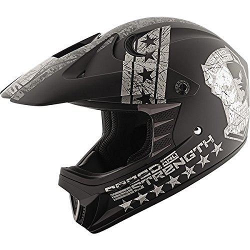 Speed and Strength Dogs of War Full Face SS2300 Youth Motorcycle Helmet (Black/Charcoal, Small)