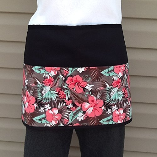 Waitress,Server Christmas Holidays apron 3 pocket black half waist printed design apron restaurants Check out 300 More prints @ kitchen cooking craft gardening aprons Handmade Janet Aprons