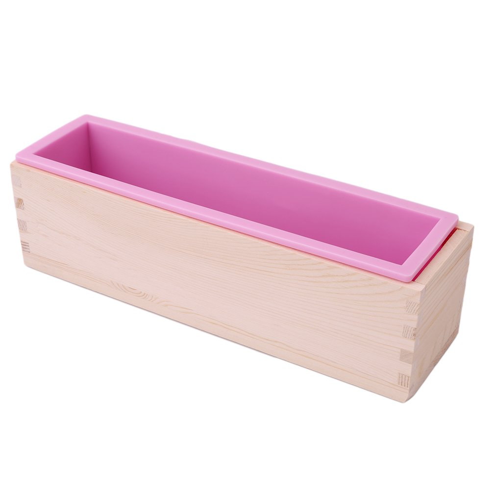 HS 1PC 900g Flexible Rectangular Soap Silicone Loaf Mold Wood Box for Soap Making Supplies (pink)
