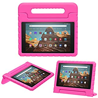 MoKo Case for Fire HD 10 Tablet (5th/7th/9th Generation, 2015/2017/2019 Release), Kids Shock Proof Convertible Handle Light Weight Super Protective Stand Cover Case for Fire HD 10.1 Inch, Magenta