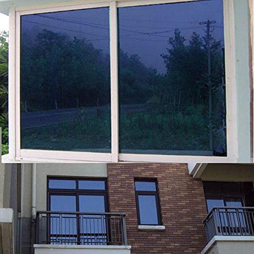 yazi Self-Adhesive DIY Dark Blue One-Way Mirror Finish Vinyl Daytime Privacy Mirror Window Film 29.5inch by 3ft