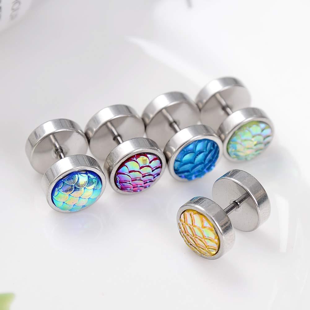 Cren 2-10pcs 16G Colorful Scales Stainless Steel Stud Barbell Earrings Ear Plug