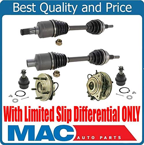 Mac Auto Parts 158799 Brand New Front Left & Right CV Axle Shafts Wheel Hub Bearings & Ball Joints For 05-10 Grand Cherokee W/Limited Slip Differential