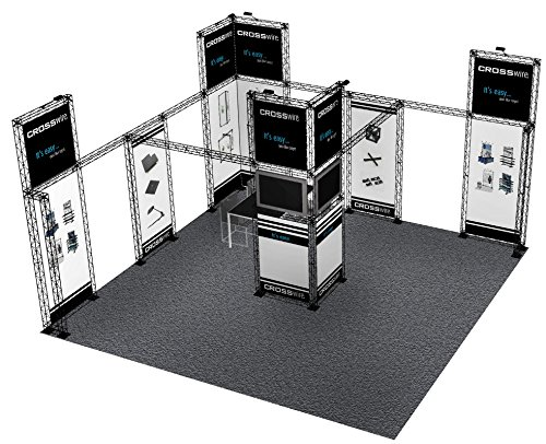 - 20x20 TRADE SHOW BOOTH DISPLAY CUSTOM EVENT SOLUTION 20' x 20' POP UP BANNER STAND INLINE BOOTH TRUSS DISPLAY 20X20 COMPOSITE PLASTIC ALUMINUM FREESTANDING CROSSwire Exhibit X-10 (L20' x W20' x H12')