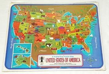Amazon.com: UNITED STATES OF AMERICA - Frame Tray Puzzle Map - 1968 ...