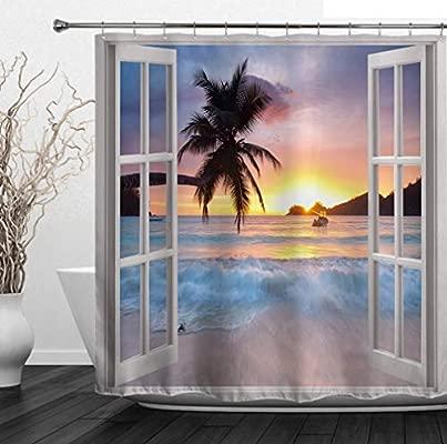 Hot Ocean Palm Tree Theme Bathroom Decor Waterproof Fabric Shower Curtain 180CM