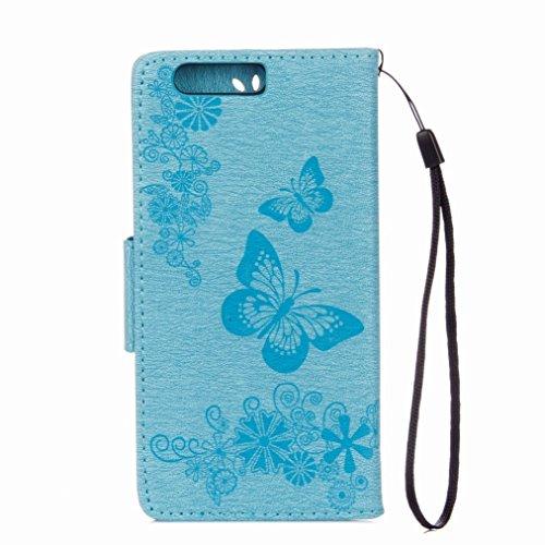 Yiizy Huawei P10 Plus Custodia Cover, Farfalla Fiore Design Sottile Flip Portafoglio PU Pelle Cuoio Copertura Shell Case Slot Schede Cavalletto Stile Libro Bumper Protettivo Borsa (Blu)