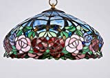 New Legend Tiffany Style Stained Glass Rose Hanging Lamp Ceiling Fixture TL16011 - 16-Inch wide