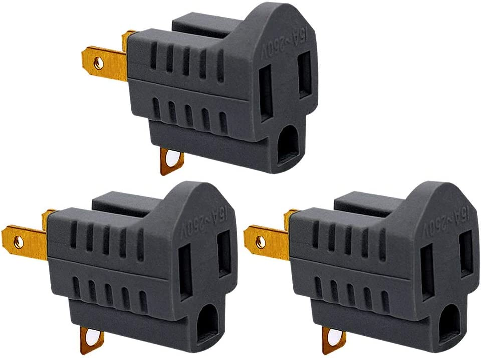 (3 Pack) 3-Prong to 2-Prong Adapter Grounding Converter 3 Pin to 2 Pin Power For wall Outlets Plugs, Grey - -