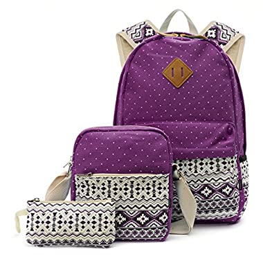 OURBAG Canvas Casual Lightweight Backpack Shoulder Bags Wallet 3PCS Set for Women Purple