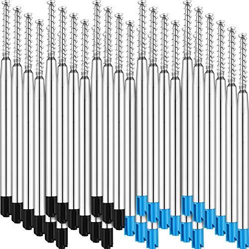 Tatuo 30 Pieces Ballpoint Pen Refills Ink Ballpoint Refill with Spring, Black and Blue