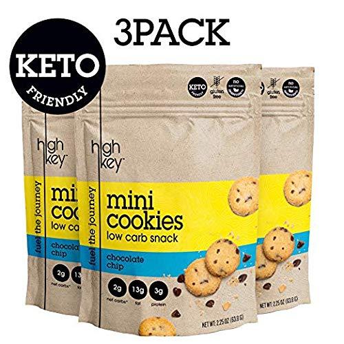 HighKey Snacks Keto Mini Cookies - Chocolate Chip, Pack of 3, 2.25oz Bags - Keto Friendly, Gluten Free, Low Carb, Healthy Snack - Sweet, Diet Friendly Dessert - Ketogenic Food from HIGHKEY SNACKS
