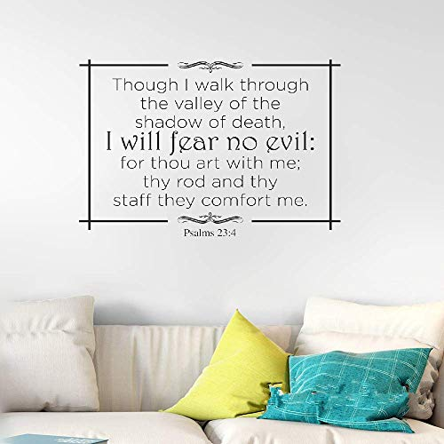 DIY Removable Vinyl Decal Mural Letter Wall Sticker Though I Walk Through The Valley of The Shadow of Death Bible Verse (Valley Of The Shadow Of Death Quote)