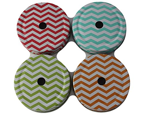 Straw Hole Tumbler Lids for Regular Mouth Mason, Ball, Canning Jars (5 Pack, Thin Chevron)