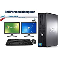 Dell OptiPlex 755 Desktop Complete Computer Package with Intel Core 2 Duo 2.8 GHz - 8GB RAM - 500GB HDD- DVD RW- Windows 7 Pro 64-Bit - Keyboard, Mouse + Two 19 Inch Dell Monitor + WiFi