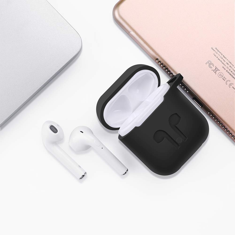 Case for AirPods 2 Front LED Visible ICETEK 2019 Upgraded Airpods Case Cover 6 in 1 Protective Skin Shell Accessories Silicone with Hanger Strap Case for Apple Airpods 2/&1-Black