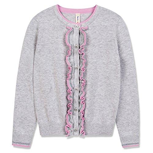 Benito & Benita Girls' Sweater Crew Neck Cardigan Soft Cotton Long Sleeve Sweaters Grey For 3-12Y (3-4Y/104CM, Grey) (Ruffle Neck Cardigan)