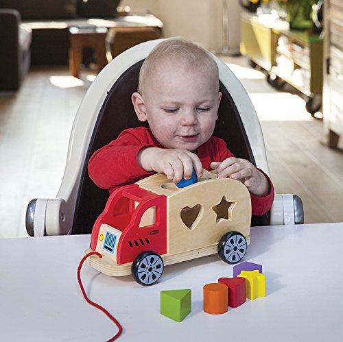 New Classic Toys 10564 Ziehund Sortierspiel Auto mit 6 Formen