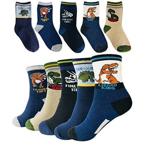 Tiny Captain Boy Dinosaur Socks 4-7 Year Old Boys Crew Cotton Sock Perfect Age 5 Gift Set (Medium, Black and Blue) (The Coolest Shoes In The World For Sale)