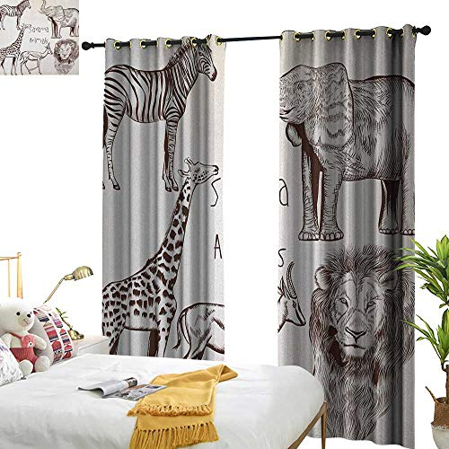 WinfreyDecor Blackout Curtains Safari Collection of Tropic African Asian Wild Savannah Animals Lion Giraffe Zebra Graphic Darkening and Thermal Insulating W120 x L96 Cream Brown