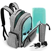 Baby Diaper Bag Backpack, SPARIN Unisex Large Nappy Bag Backpack with Changing Pad, Stroller Straps, Insulated Water Bottle Pocket for Mom and Dad -Grey
