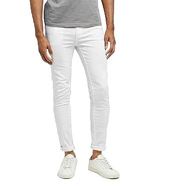50fd112aac4ed LCJ Denim Men s Skinny Slim Fit White Jeans Basics (34W 32L)  Amazon ...