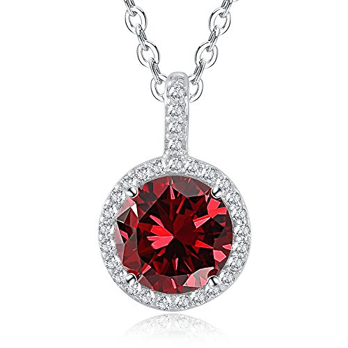 - Citled Birthstone Necklace Pendant 12 Months Plated Silver Gem Necklace Gift Big CZ Crystal Jewelry Birthday Pendant for Women Come inGiftBox-01Jan.