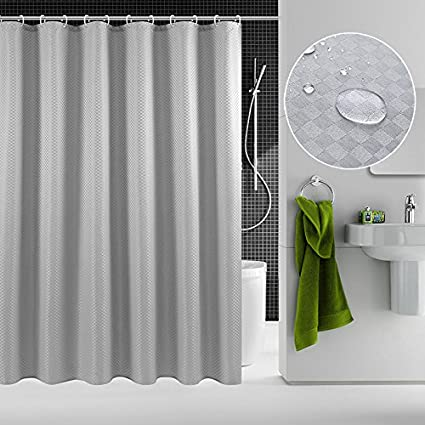 GAOZHI Waterproof Fabric Shower Curtain Waffle Water Repellent And Mildew Resistant Bathroom