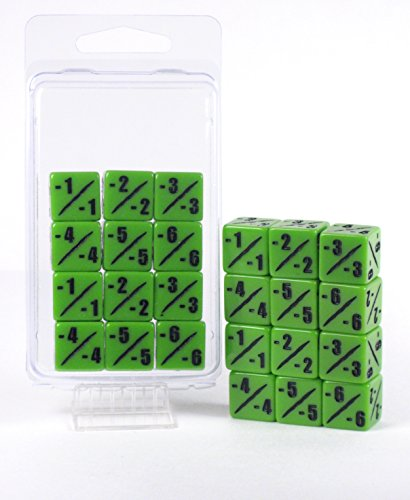 MTG -1/-1 Counter Dice Set - D6 - Pack of 12 - Bright Venom Green - Hedral - Magic: The Gathering TCG CCG - Negative Counters - Minus One - 12d6