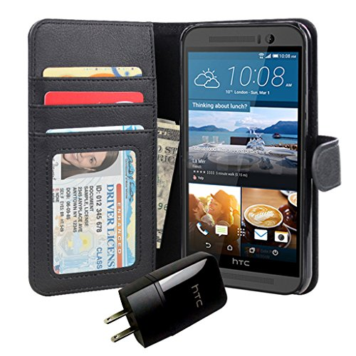 Jumbl Slim Leather Wallet Case for HTC ONE M9 - Inner Hardshell Case Offers Enhanced Protection + OEM HTC Charger - Black