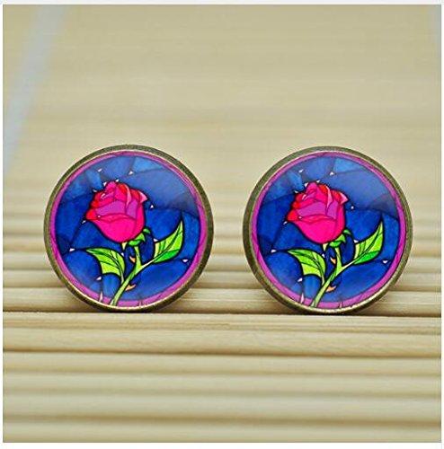 rose Earrings Studs jewelry glass Cabochon Earrings Post jewelry glass Cabochon Earrings,jewelry Earrings (bronze) ()