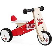 Janod - J03261 - Triciclo Little Bikloon de madera de color rojo y blanco, aprendizaje del equilibrio e independencia…