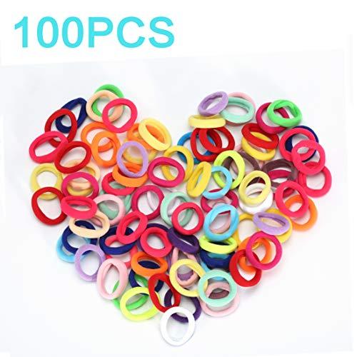 100PCS 20 Colors Baby Hair Ties, Toddler Hair Ties for Girls Kids, Elastic Hair Bands Ponytail Holder, Soft Seamless Small Hair Ties by NanTuYo