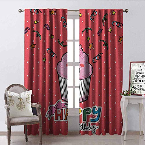 Price comparison product image Gloria Johnson Birthday Wear-Resistant Color Curtain Pink Strawberry Flavor Cupcake with Candle Cute Face Confetti Bow Tie and Dots Waterproof Fabric W52 x L54 Inch Multicolor