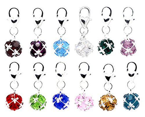 Best Wing Jewelry Clip-on Imitation-Birthstone Crystal Dangle Charm Pendent (1 Charm) (Green - August)
