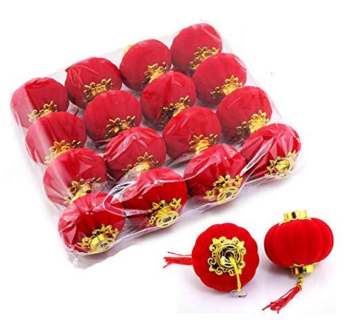 "TA BEST Red Lantern 16 Pcs Lucky Hanging Lanterns Decoration New Year Wedding Party Hang Mini Lanterns for Chinese Spring Festival Celebration(2.36""x2.16"")"
