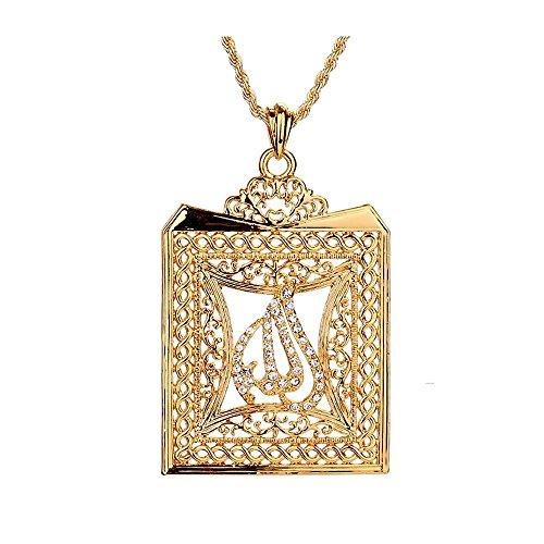 Islamic Muslim Arab Necklace Square Pendant Gold Plated Unisex Women Men Dubai -