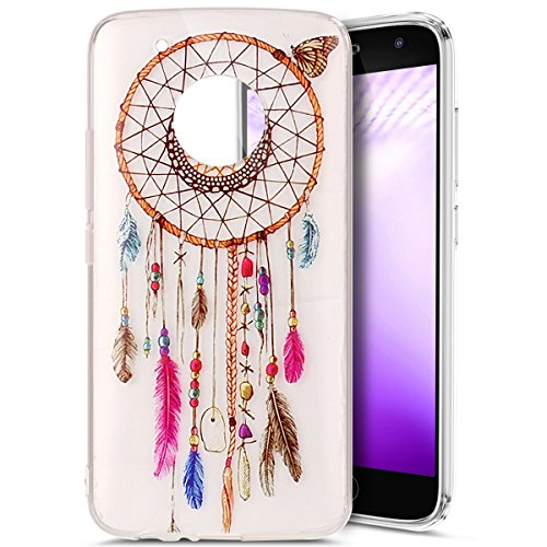 Price comparison product image Moto G5 Plus Case, Moto G5 Plus Clear Case, PHEZEN Feather Dream Catcher Design Ultra Thin Anti-Scratch Flexible TPU Gel Rubber Soft Skin Silicone Protective Case Cover For Moto G Plus (5th Gen)