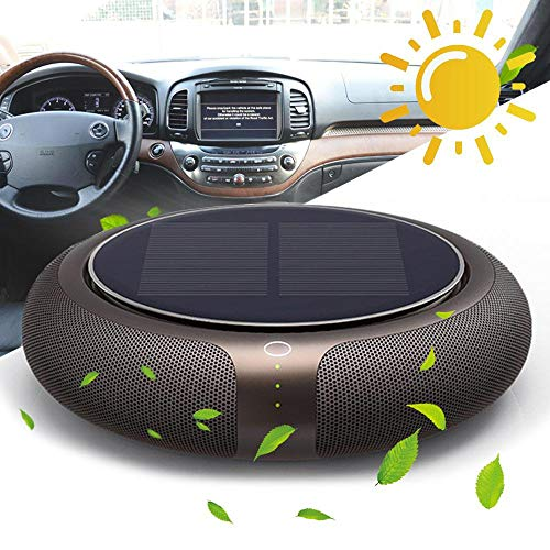 Car Air Purifier, 2019 Newest Portable Ionizer Air Fresher with True Hepa Filter, 3 Speed Setting, Solar Power and USB Quiet Air Cleaner for Home, Smokers, Smoke, Dust, Pets, Desktop (Best Hepa Air Purifier 2019)