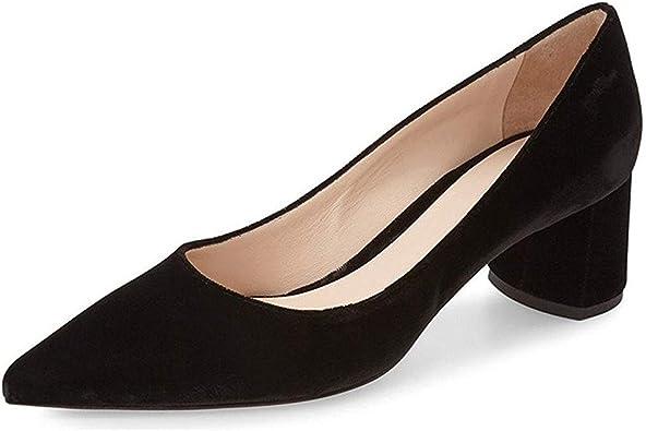 YDN Women Suede Low Heel Pumps Classic