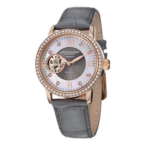 Stuhrling Original Women's 710.04 Vogue Automatic Self Wind Grey Genuine Leather Strap Watch (Watches For Women Stuhrling)